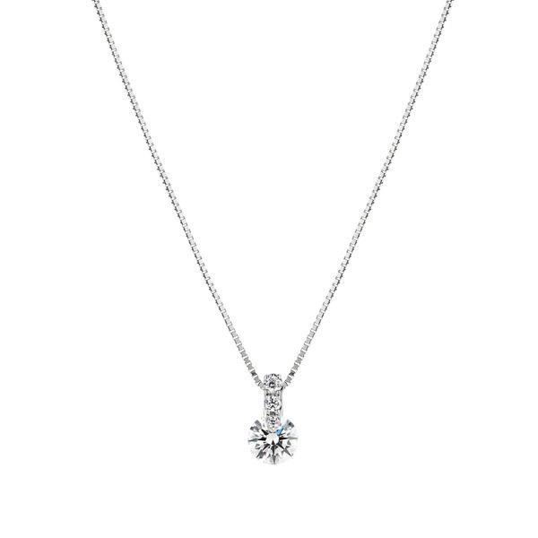 PT900 1ポイント ダイヤモンド グラデーション ペンダント 40cm 0.3ct