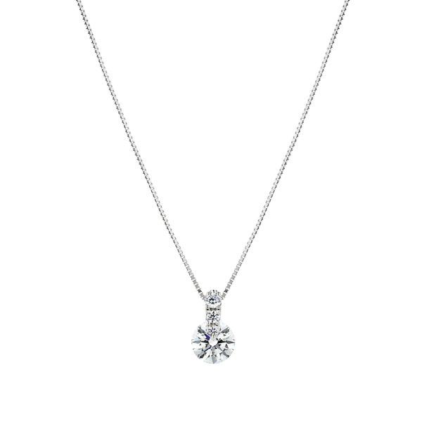 PT900 1ポイント ダイヤモンド グラデーション ペンダント 40cm 0.5ct