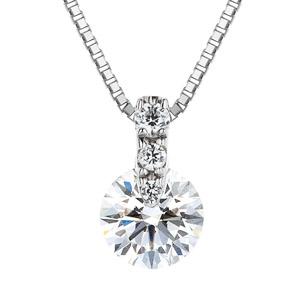 PT900 1ポイント ダイヤモンド グラデーション ネックレス 40cm 0.7ct