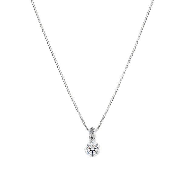 PT900 1ポイント ダイヤモンド グラデーション ペンダント 45cm 0.2ct
