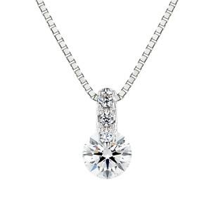 PT900 1ポイント ダイヤモンド グラデーション ネックレス 45cm 0.2ct