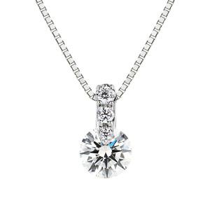 PT900 1ポイント ダイヤモンド グラデーション ネックレス 45cm 0.3ct