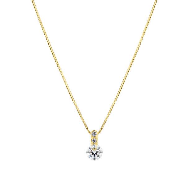K18YG 1ポイント ダイヤモンド グラデーション ペンダント 40cm 0.2ct