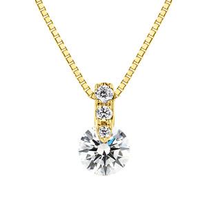 K18YG 1ポイント ダイヤモンド グラデーション ペンダント 40cm 0.3ct