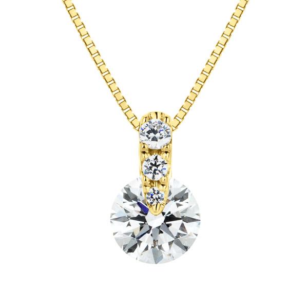 K18YG 1ポイント ダイヤモンド グラデーション ペンダント 40cm 0.5ct