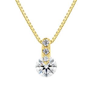 K18YG 1ポイント ダイヤモンド グラデーション ネックレス 45cm 0.2ct