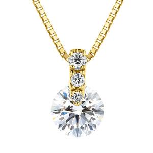 K18YG 1ポイント ダイヤモンド グラデーション ペンダント 45cm 0.7ct