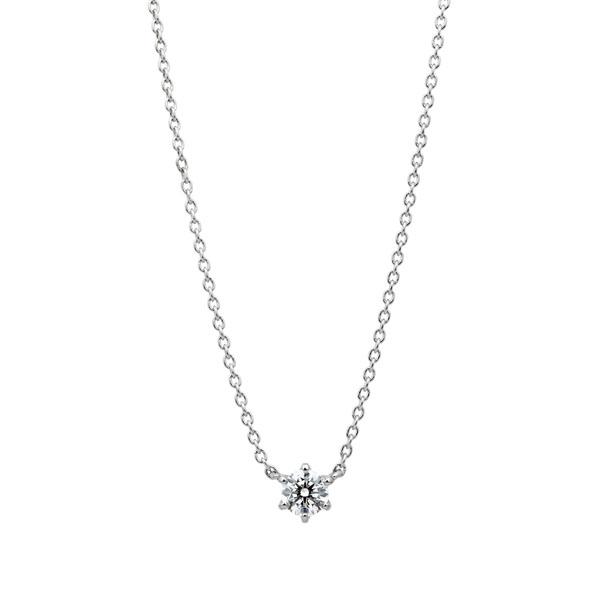 PT950 スプリング 6ポイントセッティング ダイヤモンド ネックレス 45cm 0.2ct