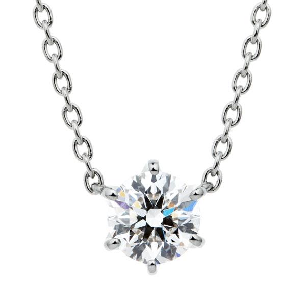 PT950 スプリング 6ポイントセッティング ダイヤモンド ネックレス 45cm 0.5ct