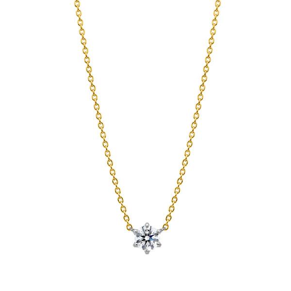 PT950/K18YG スプリング 6ポイントセッティング ダイヤモンド コンビネーション ネックレス 45cm 0.3ct