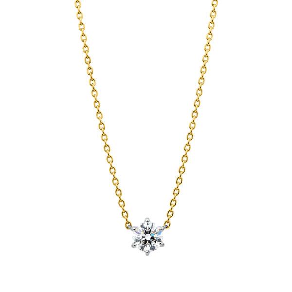PT950/K18YG スプリング 6ポイントセッティング ダイヤモンド コンビネーション ネックレス 45cm 0.5ct
