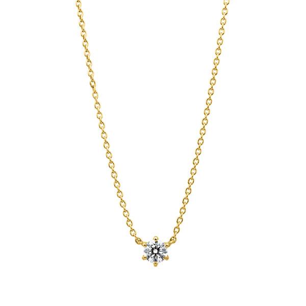 K18YG スプリング 6ポイントセッティング ダイヤモンド ネックレス 45cm 0.2ct