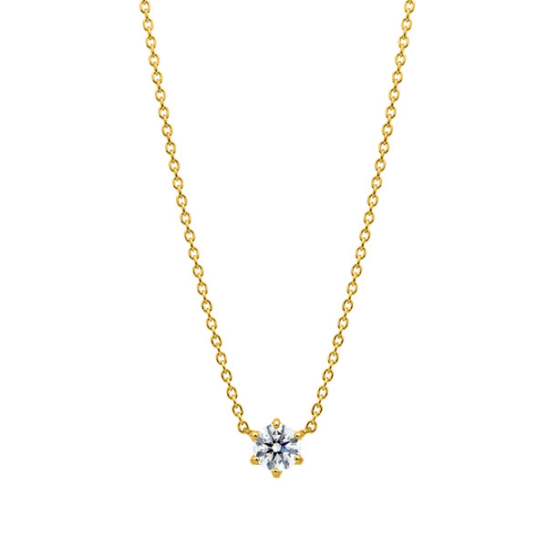 K18YG スプリング 6ポイントセッティング ダイヤモンド ネックレス 45cm 0.3ct