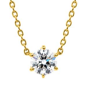 K18YG スプリング 6ポイントセッティング ダイヤモンド ネックレス 45cm 0.5ct