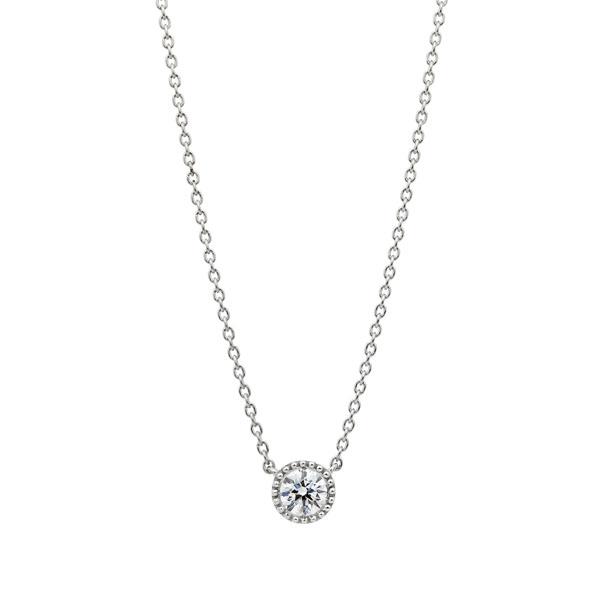 PT950 サークレットグレイン ダイヤモンド ネックレス 45cm 0.2ct