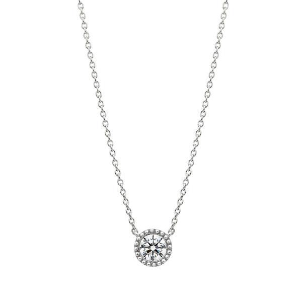 PT950 サークレットグレイン ダイヤモンド ネックレス 45cm 0.3ct