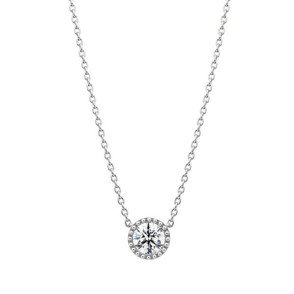 PT950 サークレットグレイン ダイヤモンド ネックレス 45cm 0.5ct