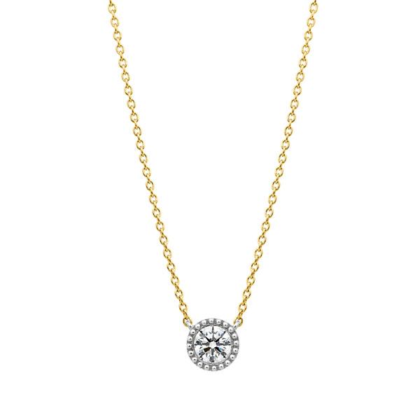 PT950/K18YG サークレットグレイン ダイヤモンド コンビネーション ネックレス 45cm 0.3ct