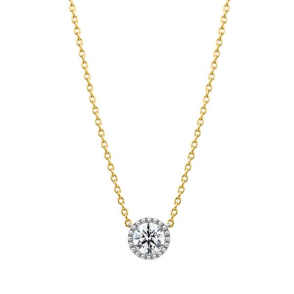 PT950/K18YG サークレットグレイン ダイヤモンド コンビネーション ネックレス 45cm 0.5ct