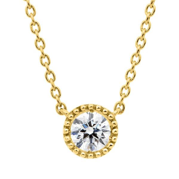 K18YG サークレットグレイン ダイヤモンド ネックレス 45cm 0.2ct