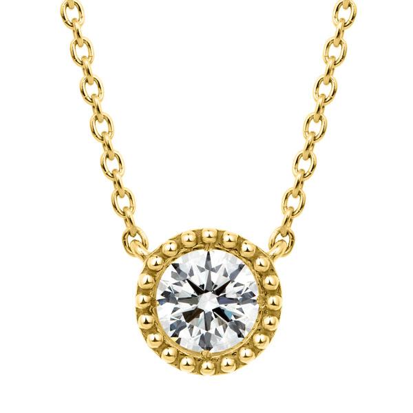 K18YG サークレットグレイン ダイヤモンド ネックレス 45cm 0.3ct