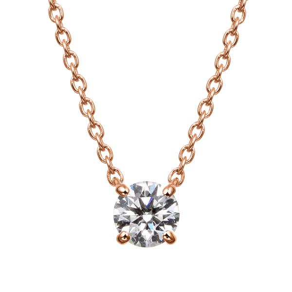 K18PG 4ポイントセッティング ダイヤモンド ネックレス 45cm 0.2ct