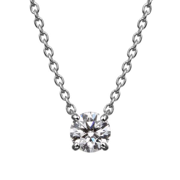 PT900 4ポイントセッティング ダイヤモンド ネックレス 45cm 0.2ct
