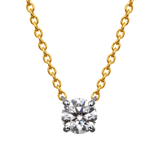PT900/K18YG 4ポイントセッティング ダイヤモンド コンビネーション ネックレス 40cm 0.2ct