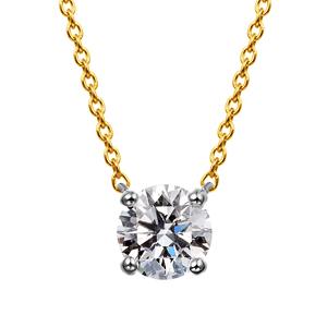 PT900/K18YG 4ポイントセッティング ダイヤモンド コンビネーション ネックレス 40cm 0.5ct