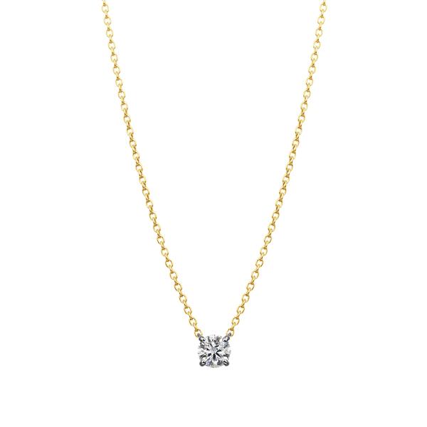 PT900/K18YG 4ポイントセッティング ダイヤモンド コンビネーション ネックレス 45cm 0.2ct