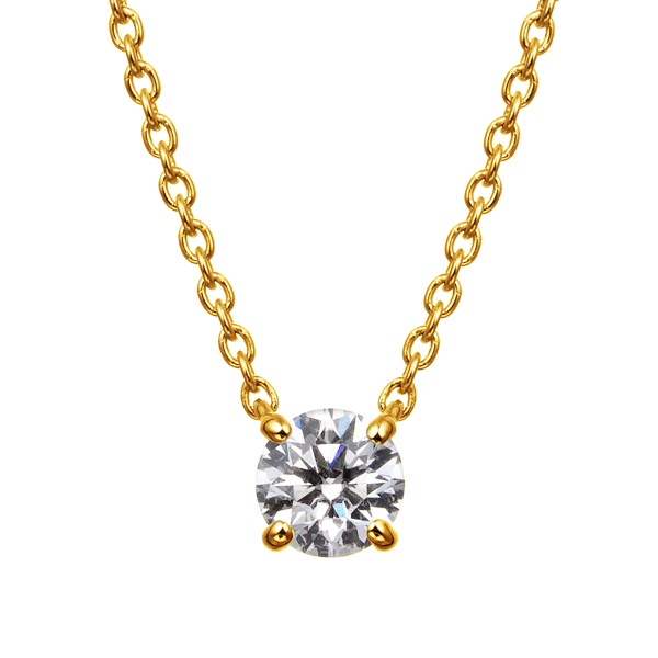 K18YG 4ポイントセッティング ダイヤモンド ネックレス 40cm 0.2ct