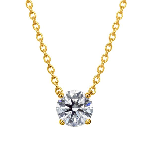 K18YG 4ポイントセッティング ダイヤモンド ネックレス 40cm 0.3ct