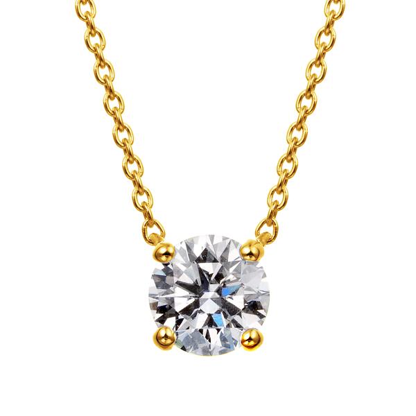 K18YG 4ポイントセッティング ダイヤモンド ネックレス 40cm 0.5ct