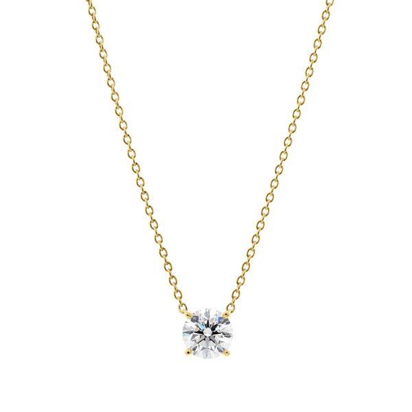 K18YG 4ポイントセッティング ダイヤモンド ネックレス 40cm 0.7ct