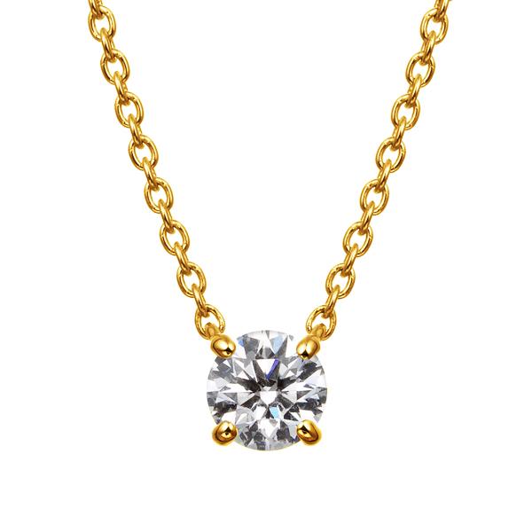 K18YG 4ポイントセッティング ダイヤモンド ネックレス 45cm 0.2ct