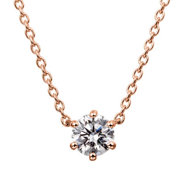 K18PG 6ポイントセッティング ダイヤモンド ネックレス 40cm 0.2ct