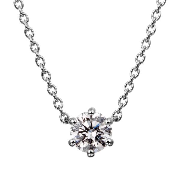 PT900 6ポイントセッティング ダイヤモンド ネックレス 40cm 0.2ct