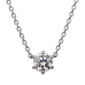 PT900 6ポイントセッティング ダイヤモンド ネックレス 45cm 0.2ct