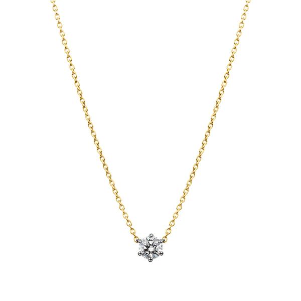 PT900/K18YG 6ポイントセッティング ダイヤモンド コンビネーション ネックレス 45cm 0.2ct