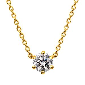 K18YG 6ポイントセッティング ダイヤモンド ネックレス 40cm 0.2ct