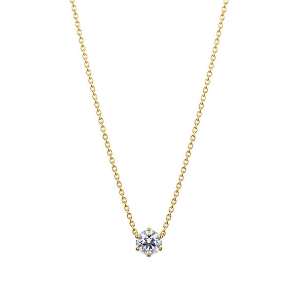K18YG 6ポイントセッティング ダイヤモンド ネックレス 40cm 0.3ct