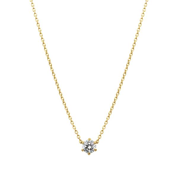 K18YG 6ポイントセッティング ダイヤモンド ネックレス 45cm 0.2ct