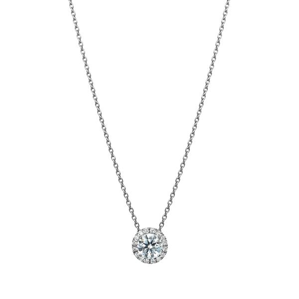 PT900 マイクロセッティング ダイヤモンド ヘイロー ペンダント 40cm 0.3ct
