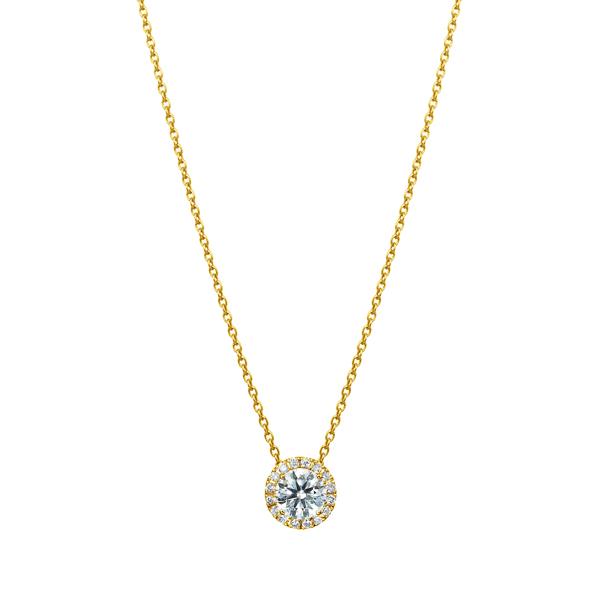 K18YG マイクロセッティング ダイヤモンド ヘイロー ペンダント 40cm 0.3ct