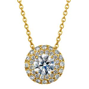 K18YG マイクロセッティング ダイヤモンド ダブルヘイロー ペンダント 40cm 0.3ct