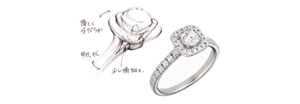 フローティングヘイロー ダイヤモンドリング